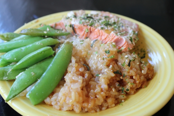 Salmon Rice Snappeas plated