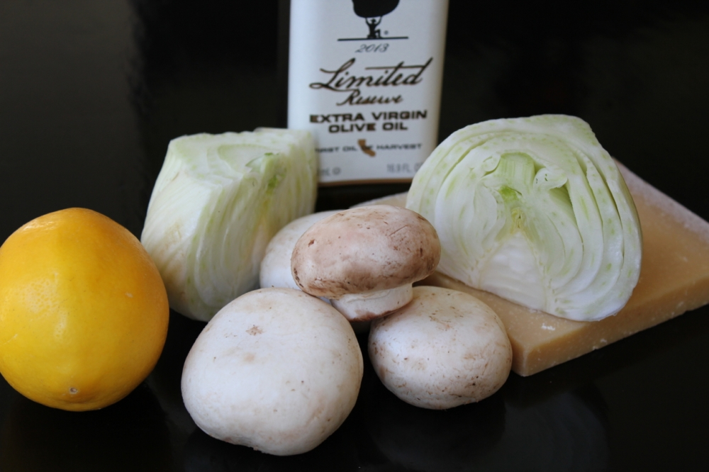 Fennel, Mushroom and Parmasean ingredients