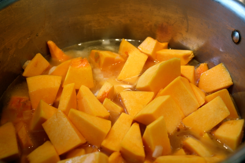 butternut squash in pot with just the right amount of water