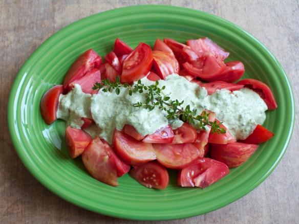 Fresh tomatoes with Lemon Thyme Pesto