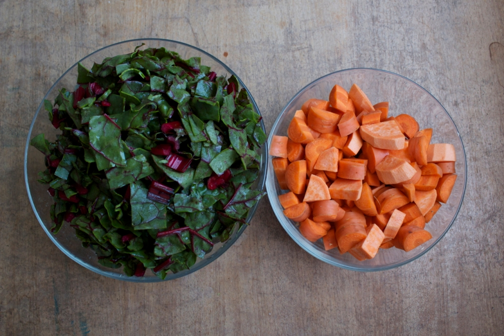 Red Chard and diced carrots and sweet potato