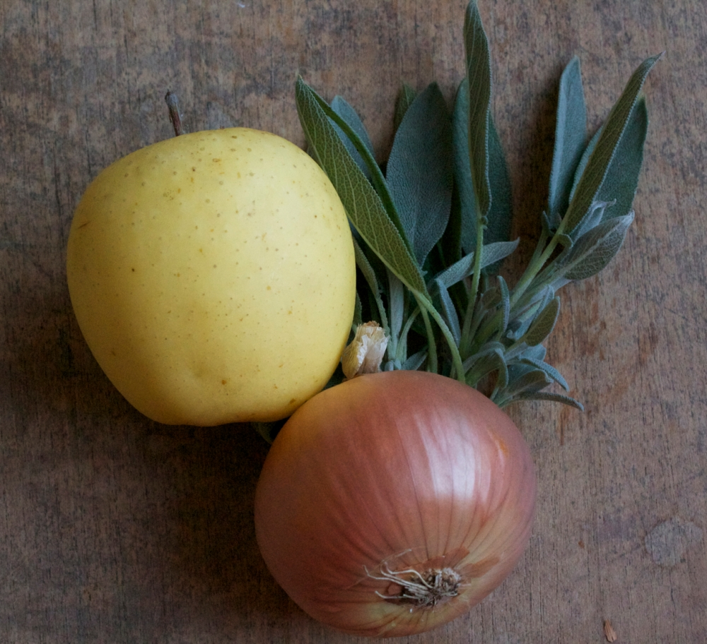 golden delicious apple, fresh sage, yellow onion