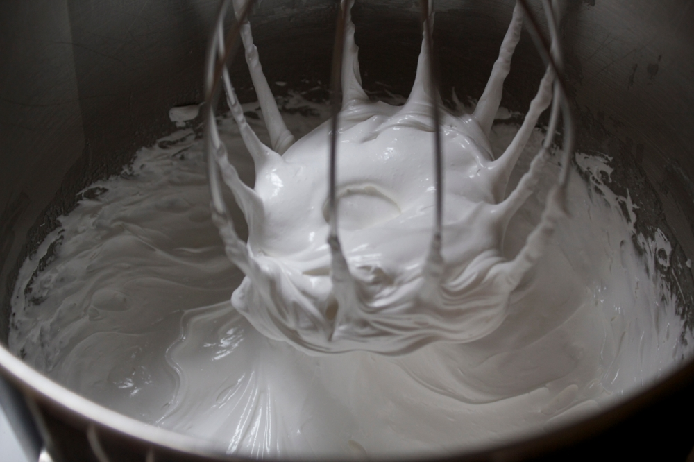 whipped egg whites and sugar, fully fluffy and cooled