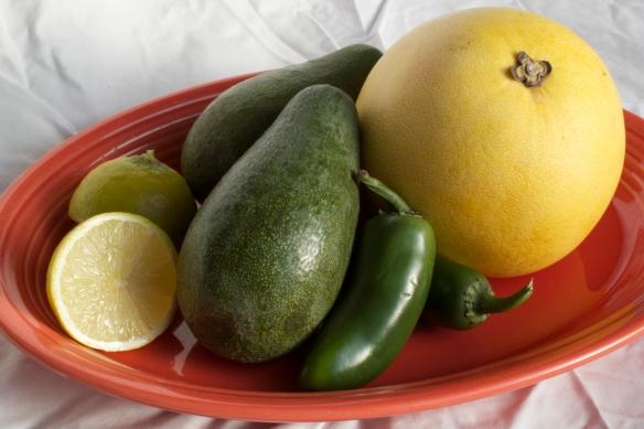 lime, avocado, jalapeño, and pomelo