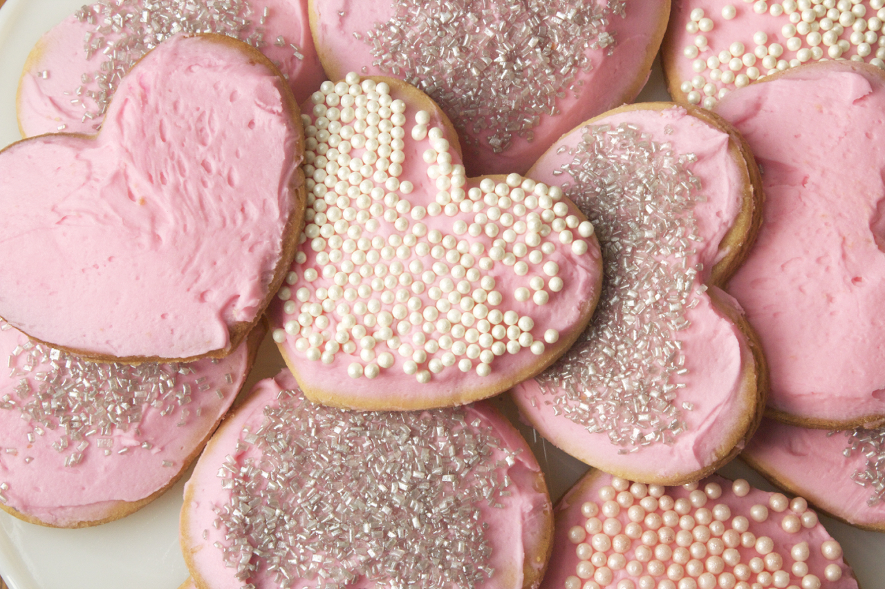 pink frosted Vanilla Butter Cookie hearts