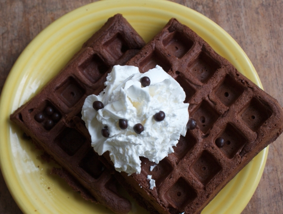 Chocolate Waffle with whipped cream