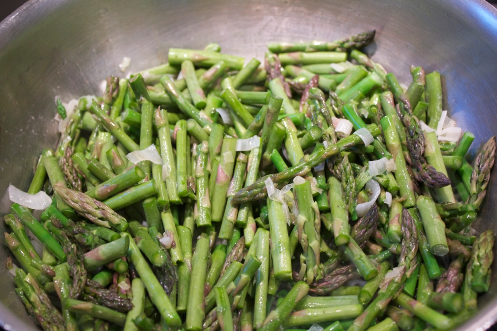asparagus and green garlic, sauteing