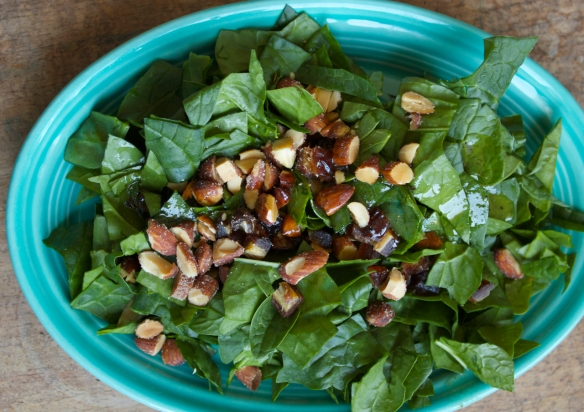 Spinach with Dates and Smoked Almonds