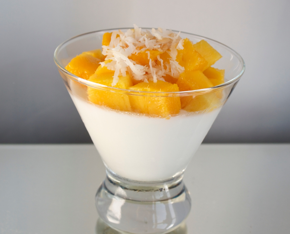 Coconut Panna Cotta with Mango