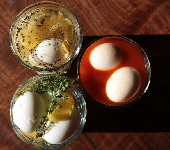 Pickled eggs three ways