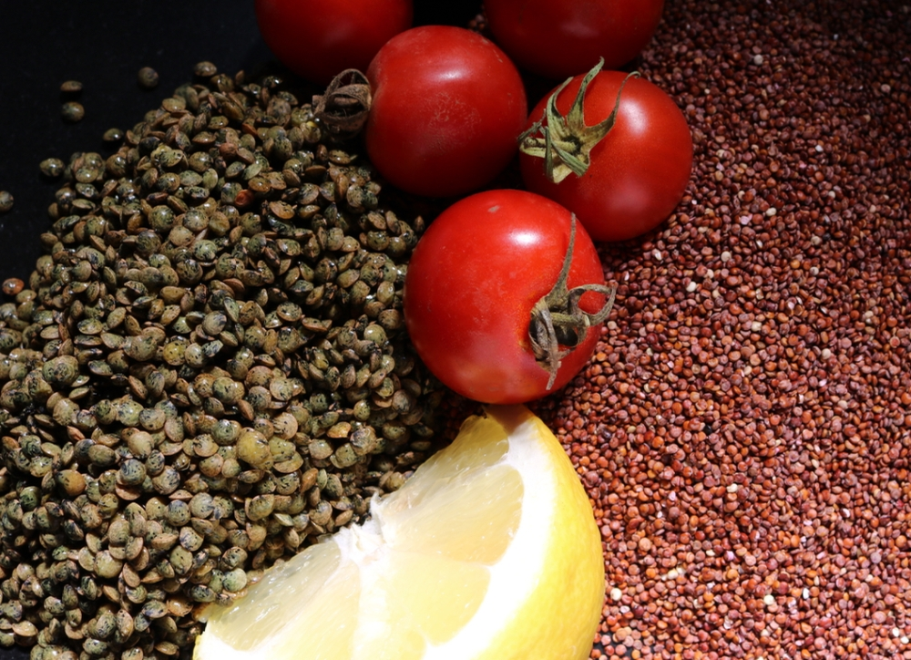 french green lentils, tomatoes, red quinoa, and lemon