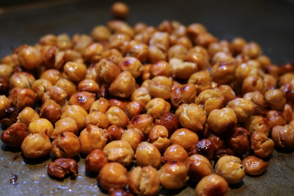 Garbanzos, roasted with oil and salt