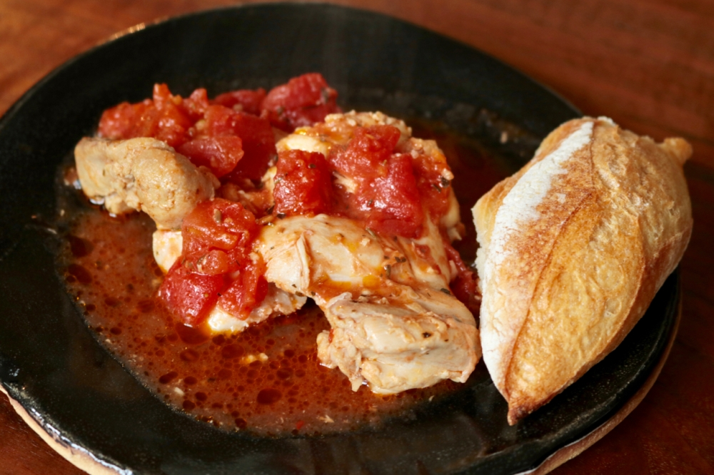 Chicken thighs braised with tomatoes and herbes de Provence